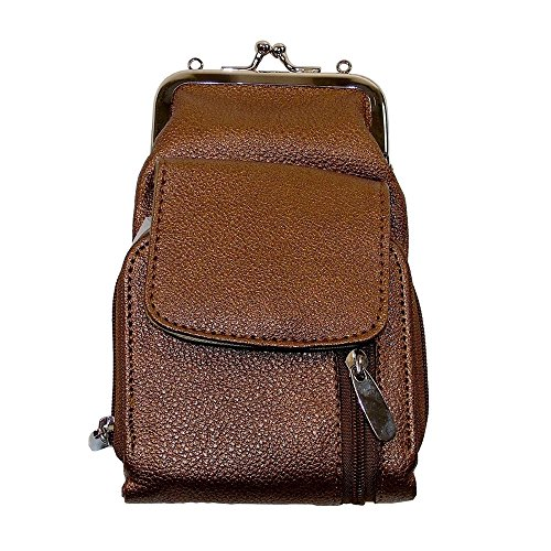Credit Card Cigarette Case Wallet (Womens Leather Cigarette and Lighter Case On The Go Wallet with Twist Clasp - Bronze)