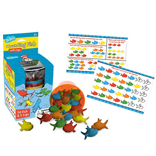 (Eureka Dr. Seuss Multicolor Fish Learn to Count Math Manipulatives for Kindergarten, 55pcs )