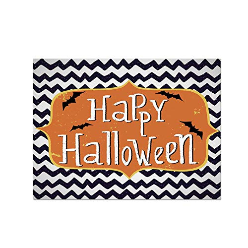 (C COABALLA Halloween Heat Resistant Table Mat,Cute Halloween Greeting Card Inspired Design Celebration Doodle Chevron Decorative for Dining,15.7