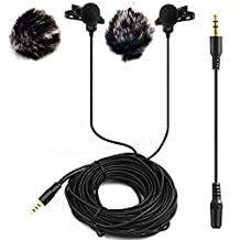 20FT Dual Headed Lapel Lavalier Microphone,Nicama LVM2 Clip-on Lav Mic With 2 Windscreen Muffs for DSLR Camera Sony Camcorders Audio Recorders iPhone, iPad, PC, Macbook, Samsung Andriod Smartphones