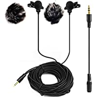 20FT Dual Headed Lavalier Microphone with 2 Windscreen Muffs,Nicama LVM2 Clip-on Lav Mic for DSLR Camera Sony Camcorders Audio Recorders iPhone, iPad, PC, Macbook, Samsung Andriod Smartphones