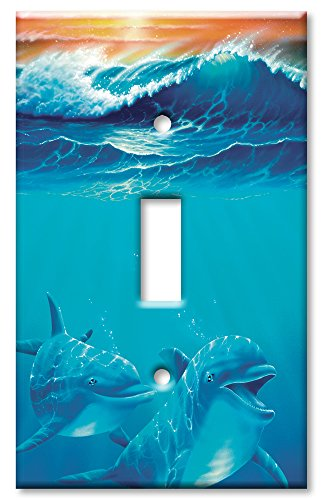 Art Plates - Dolphins at Play Switch Plate - Single Toggle (Switchplate Dolphin)