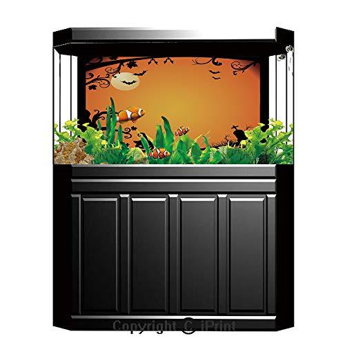 Terrarium Fish Tank Background,Vintage Halloween,Halloween Themed Image Eerie Atmosphere Gravestone Evil Pumpkin Moon Decorative,Orange Black,Photography Backdrop for Pictures Party -