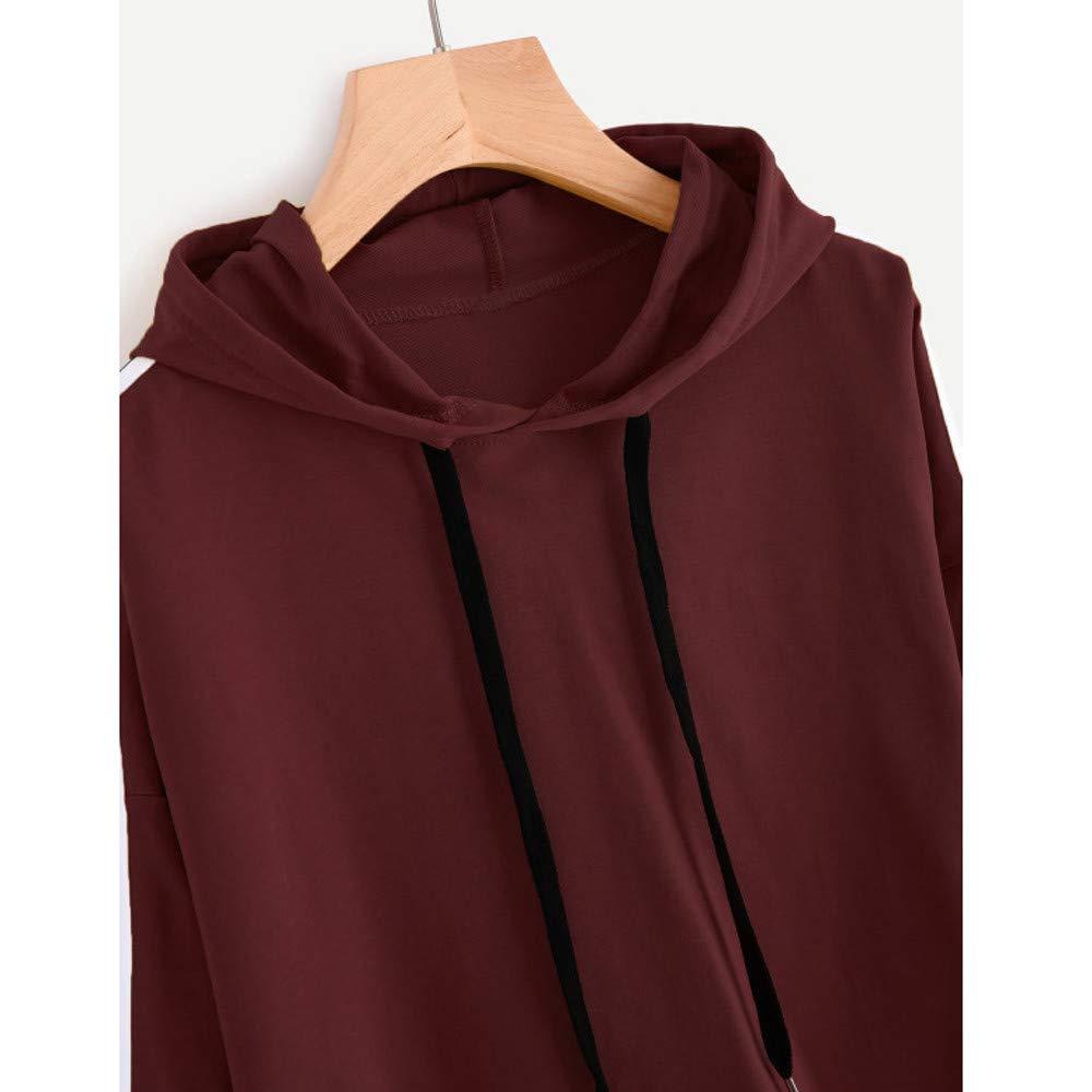 Fashionhe Womens Striped Long Sleeve Hoodie Sweatshirt Jumper Hooded Pullovers