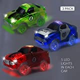 racing car battery - [3-pack] Race Car Track Set w/ 5 LED Lights | Independent & Track Play | Replacement GREEN + POLICE + RED Toy Racing light-up Cars | Track Accessories