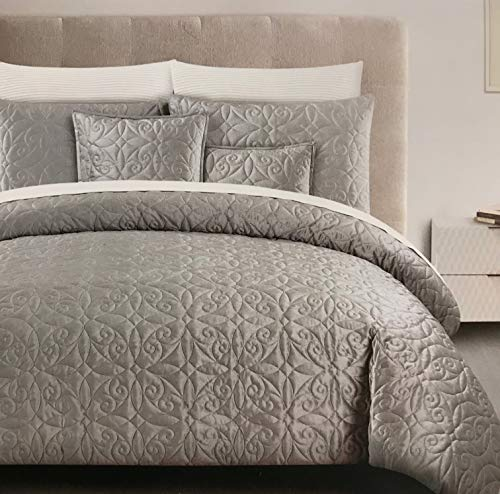Tahari Home 5 Piece Queen Comforter Set - Soft & Luxurious Quilted Velvet Circle Diamond Swirl Medallion Pattern in Light Silver Grey