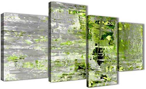 Grande verde lima y gris abstracto pintura pared arte impresión lienzo – Split 4 Set – 130 cm de ancho – 4360 Wallfillers: Amazon.es: Hogar