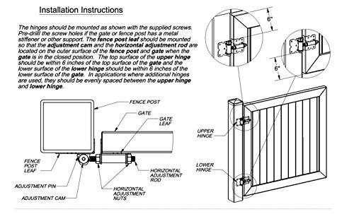 Self Closing Vinyl Fence Gate Double Gate Hardware Kit White (for Vinyl, PVC etc Fencing) - Double Fence Gate Kit has 4 Hinges, 1 Latch, and 1 Drop Rod by Jake Sales (Image #4)