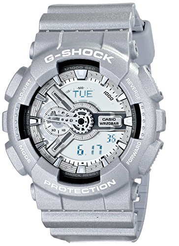 Casio GA110BC-8A Men's G-Shock Ana-Digi Grey Dial Grey Resin Strap World Time Alarm Dive Watch (Mens Watches G Shock Silver)