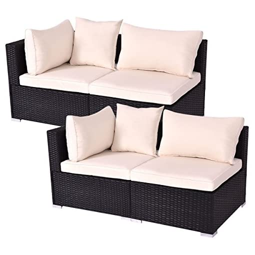 Tangkula Outdoor Wicker Furniture Set Infinitely Combination Cushion Wicker  (2 Corner Sofa+2 armless Sofa)