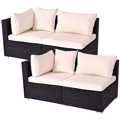 Sectional Armless Piece - Tangkula Outdoor Wicker Furniture Set Infinitely Combination Cushion Wicker (2 Corner Sofa+2 armless Sofa)