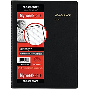 """AT-A-GLANCE Weekly Appointment Book / Planner, January 2018 - January 2019, 8-1/4"""" x 10-7/8"""", Black (7095005)"""