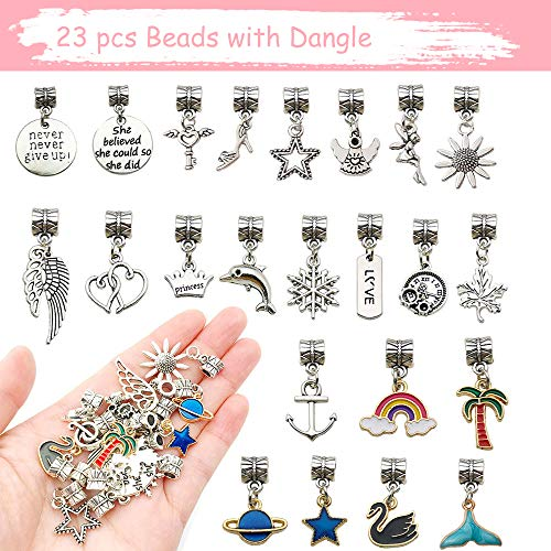 Charm Bracelet Making Kit, 88 Pieces Jewelry Making Kit with 5 Bracelet, Beads and Jewelry Charms, Bracelets for DIY Crafts, Jewelry Gift
