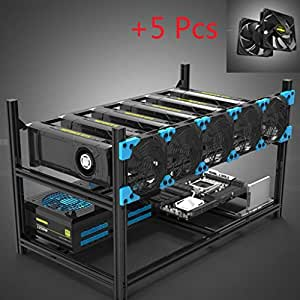 Classic 6 GPU Miner Case Aluminum Stackable Mining Case Rig Open Air Frame with 5 Black Fans For Ethereum(ETH)/ETC/ ZCash/Monero/BTC Excellent Air Convection Design