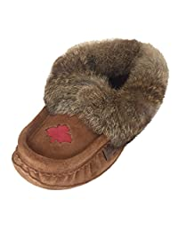 Laurentian Chief Women's Canadian Maple Leaf Suede Slippers with Rabbit Fur Collar Moccasins