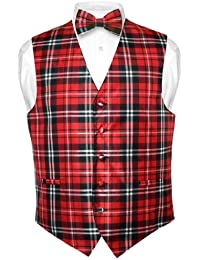 Men's Plaid Design Dress Vest & BOWTie Black Red White BOW Tie Set