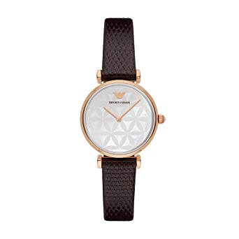 4f3168163 Amazon.com: Emporio Armani Women's AR1990 Retro Brown Leather Quartz Watch:  Watches