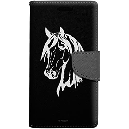 Samsung Galaxy S7 Edge Wallet Case - Silhouette Horse Head on Black Case Sales