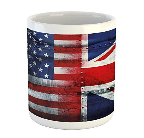 Ambesonne Union Jack Mug, Alliance Togetherness Theme Composition of UK and USA Flags Vintage, Printed Ceramic Coffee Mug Water Tea Drinks Cup, Navy Blue Red White