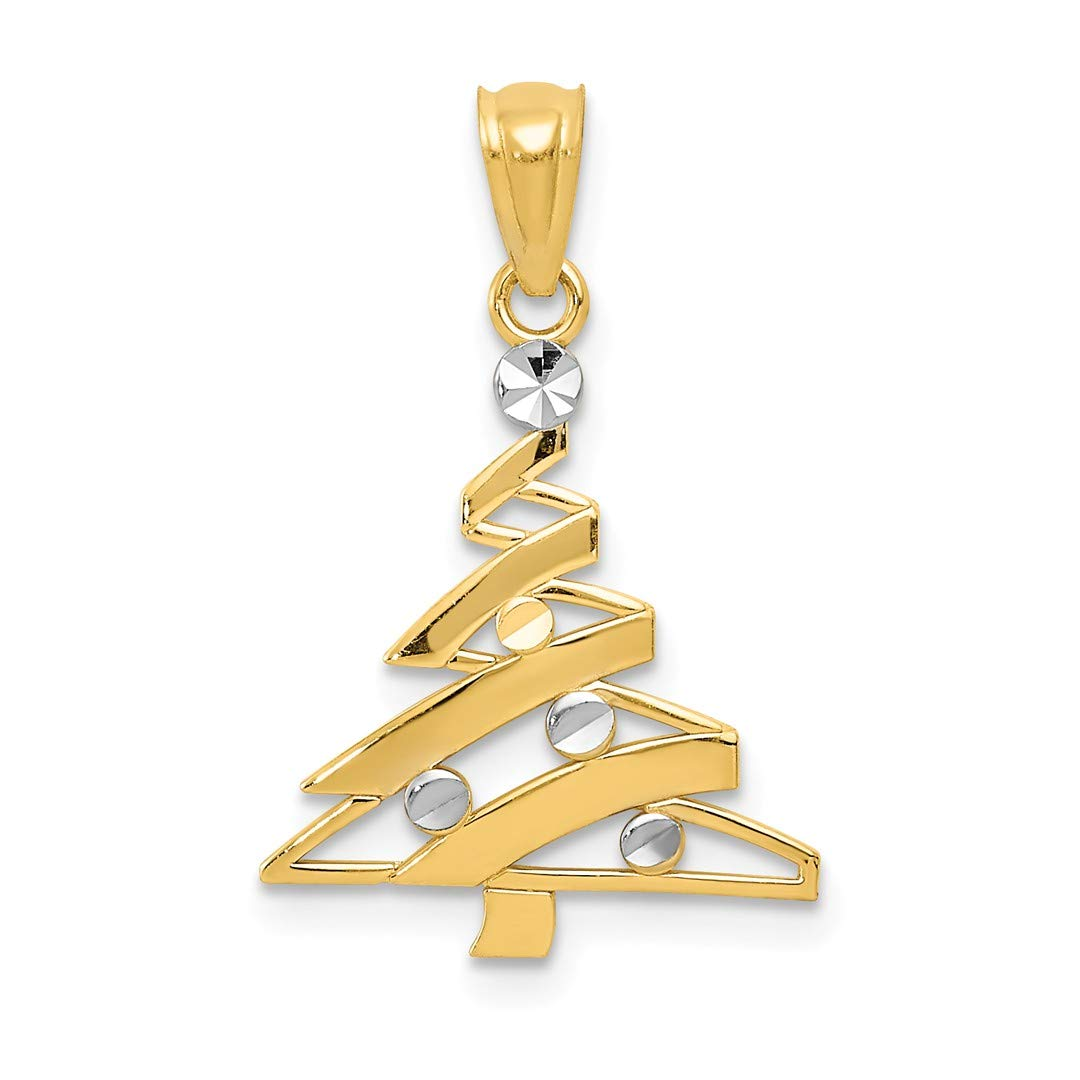 14k Yellow Gold Christmas Tree Pendant Charm Necklace Holiday Fine Jewelry Gifts For Women For Her