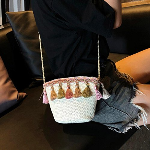 Tassel Straw Bag Women's Summer Khaki Beach Shoulder Crochet Corssbody Purse with Bags Messenger Shybuy 1576q