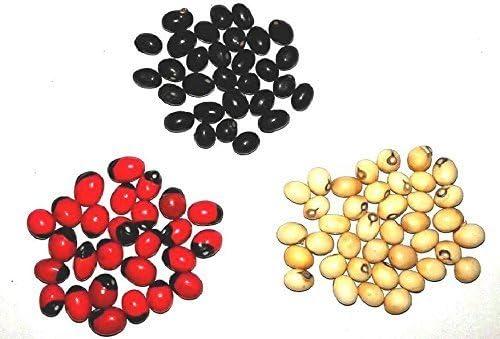 Shraddha Shree Gems Red Gunja Black Chirmi White Gurinvida Beads 21 Pieces Each Ratti Gumchi Madhuyastika for Lakshmi Mahakali and Saraswati