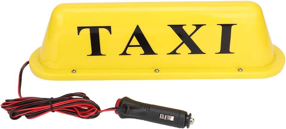 Akozon Taxi Light 12V LED Magnetic Taxi Sign Roof Top Car Super Bright Light Lamp with Cigar Lighter Yellow Case: White Light