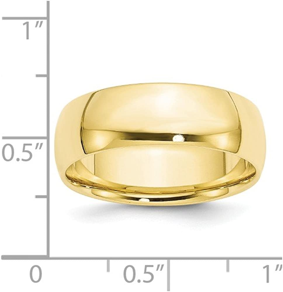 10K and 14K White and Yellow Gold 7mm Lightweight Comfort Fit Wedding Ring Collection