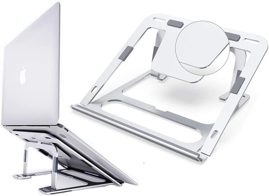 "Laptop Stand, Laptop Holder Riser Computer Tablet Stand, 6 Angles Adjustable Aluminum Ergonomic Foldable Portable Desktop Holder Compatible with MacBook,iPad, HP, Dell, Lenovo 10-17"" Silver"