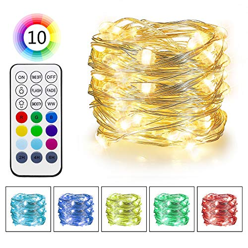 16.5' Usb - Omika RGB & Warm White Color Changing LED Fairy Lights Battery Operated - 16.5ft/5m String Lights USB Powered - Ultra Bright Light with Remote for Bedroom Wedding Party Xmas Decorations
