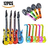 Inflatable  Guitar Vakki 12pcs Inflatable Rock Star Toys Electric Guitars Musical Set for Kids Adults Party Derection