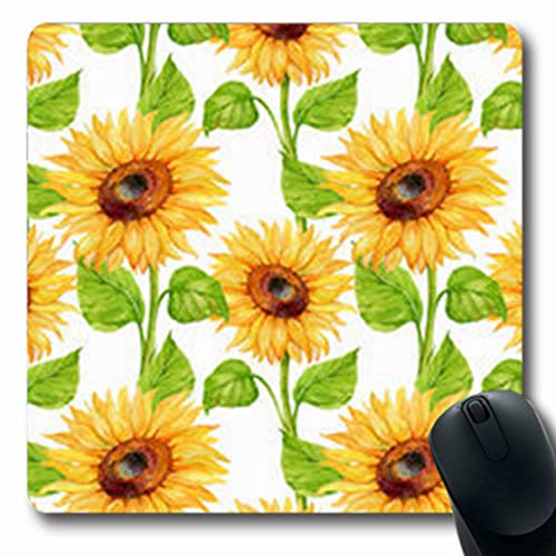 NOWCustom Oblong Mousepads Crop Sunflowerflowerwatercolor Food Gardening Drink Sunflower Nature Diet Oblong Shape 7.9 x 9.5 Inches Non-Slip Rubber Mousepad Gaming Mouse Pad
