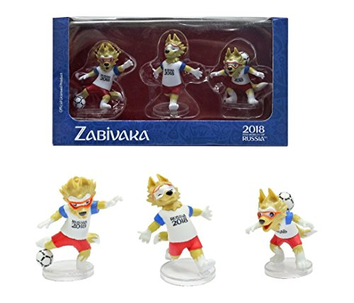 - IE Sokhatskiy Zabivaka Official Mascot of FIFA 2018 in Gift Box : Set #2 (Zabivaka Celebrating) of 3 Figures.