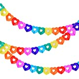 Joewyle Party Supplies Favors Banners Garland for Kids Party, Colorful Rainbow Tissue Paper Decorations Heart