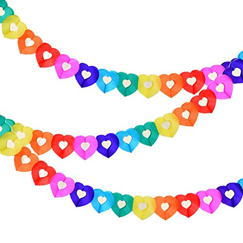 Party Supplies Favors Banners Garland for Kids Party, Colorful Rainbow Tissue Paper Decorations Heart Shape]()