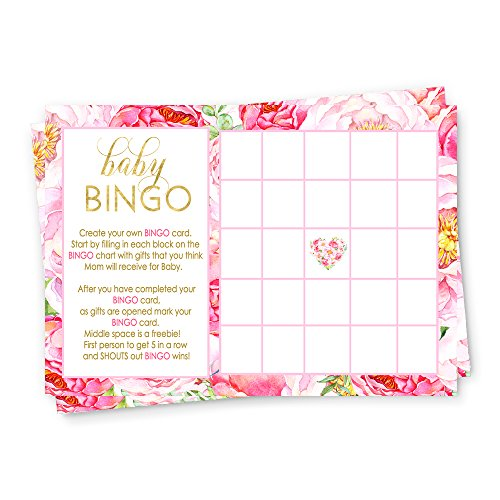Floral Baby Shower Bingo Game Card (25 (Personalized Bingo Games)