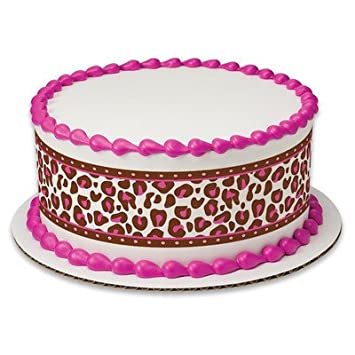 Pink Cheetah Animal Print Birthday Peel STick Edible Cake Topper Decoration For Borders W