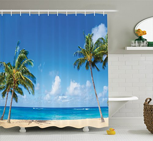 Ambesonne Hawaiian Decorations Collection, Windy Exotic Island with Tropical Trees Calm Beachy Theme Ocean Photography Print, Polyester Fabric Bathroom Shower Curtain, 84 Inches Extra Long, Gray Green by Ambesonne