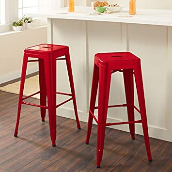 Super Set Of Two Tabouret 3503 30 30 Inch Backless Metal Counter Stools Red Ibusinesslaw Wood Chair Design Ideas Ibusinesslaworg