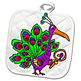 3dRose All Smiles Art Birds - Funny Cute Vain Peacock Bird Looking in Mirror Cartoon - 8x8 Potholder (phl_263773_1)