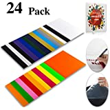 """Heat Transfer Vinyl HTV Bundle Variety Pack Assortment for T Shirts Fabric 12x10"""" 24 Sheets Iron On Vinyl Colored Starter Kit for Silhouette Cameo and Cricut Bonus 1 Weeding Tweezers and Color Chart"""