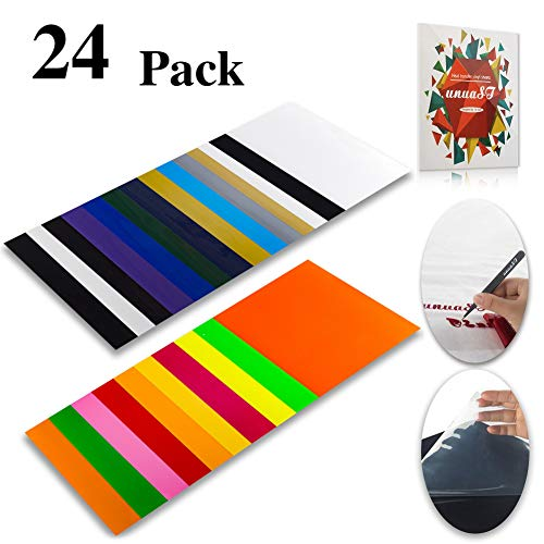 Heat Transfer Vinyl HTV Bundle Variety Pack Assortment for T Shirts Fabric 12x10' 24 Sheets Iron On Vinyl Colored Starter Kit for Silhouette Cameo and Cricut Bonus 1 Weeding Tweezers and Color Chart