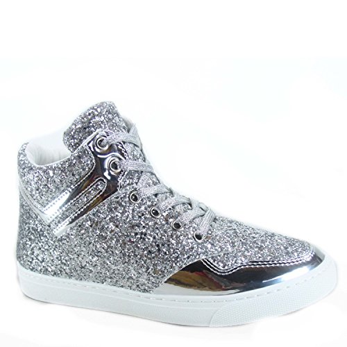 26 Womens Fashion Glitter Silver Shoes Link Up Lace Top Sneaker Forever High Sparkle OnRxE4w6