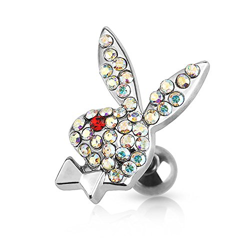Dynamique Playboy Bunny Multi Paved Gems 316L Surgical Steel Cartilage/Tragus Barbell (Sold per Piece) (Gem Ring Red Nose)