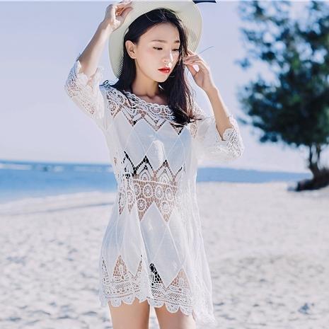 &qq Mujer playa de vacaciones chal de playa suelta, ropa de sol, ropa de playa, traje de baño bikini blusa, suéter de sección larga , one size , white White