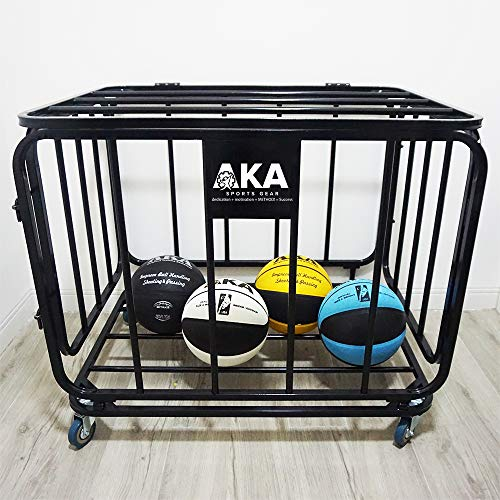 AKA Basketball Equpment Cart | Ball Storage for Soccer, Volleyball, Football | Ball Organizer | Ball Rack with Wheels | Capacity Over 25 Balls