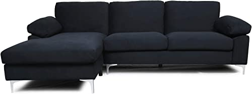 Black Sectional Sofa with Lounger Chaise,JULYFOX Overstuffed 3 Seater Fabric Couch L-Shaped Sofa with 2 Throw Pillows Extra Wide Armrest