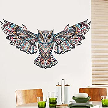 Charming BIBITIME Creative Spreading Wings Flying Owl Wall Decal Tribal Totem Animal  Art Sticker For Living Room
