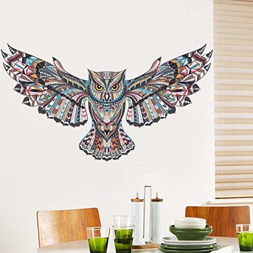 - BIBITIME Creative Spreading Wings Flying Owl Wall Decal Tribal Totem Animal Art Sticker for Living Room Bedroom Background Vinyl Mural Nursery Kids Room Decor