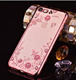 LOXXO New Edition Case For Apple Iphone7 Shockproof Silicone Soft TPU Transparent Auora Flower Case with Sparkle for Apple Iphone 7 Back Cover ROSE GOLD